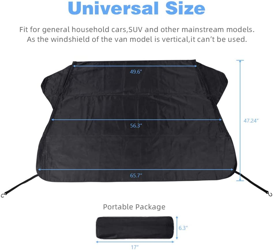 Cosyzone Windshield Snow Ice Cover Winter Frost Cover for Car Wind-Proof Keeps Ice Snow Frost Off Fits Most Vehicle
