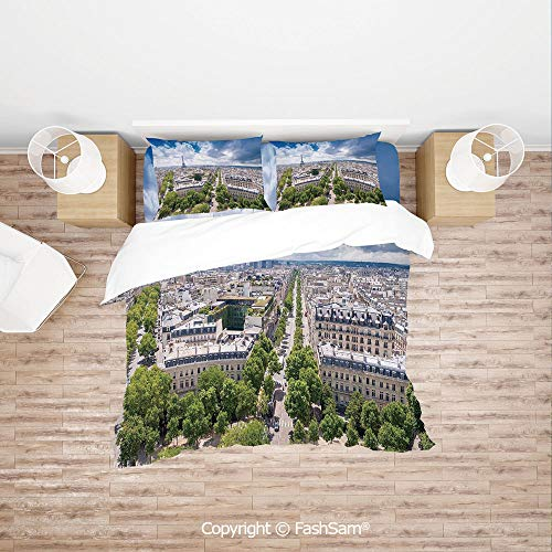 Fabric Heritage Walnut - FashSam Duvet Cover 4 Pcs Comforter Cover Set Aerial Paris Eiffel Tower French Heritage Culture Architecture Image for Boys Grils Kids(Single)