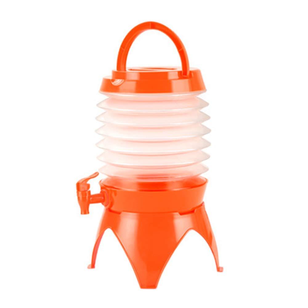 Hot Sale!UMFun Outdoor Camping Telescopic Folding Water Storage Bucket Multifunctional Drinking Folding Kettle 5L (Orange)