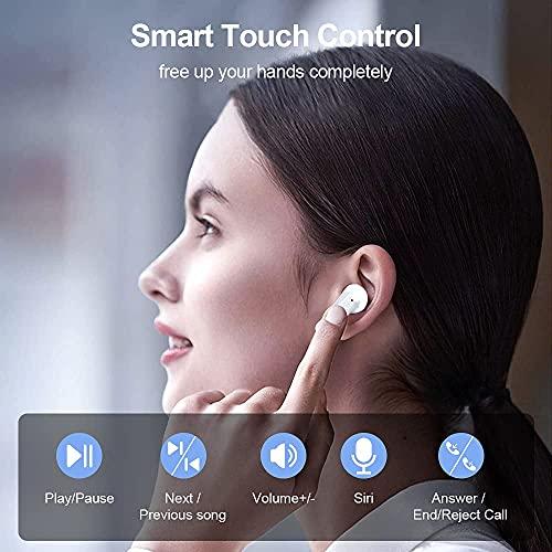 Auriculares Inalámbricos, Doubc Auriculares Bluetooth 5.1 con Micrófono 24 Horas Mini Twins In-Ear Auriculares CVC8.0 Cancelación de Ruido Cascos Inalambricos HiFi Wirless Earbuds USB-C Caja de Carga