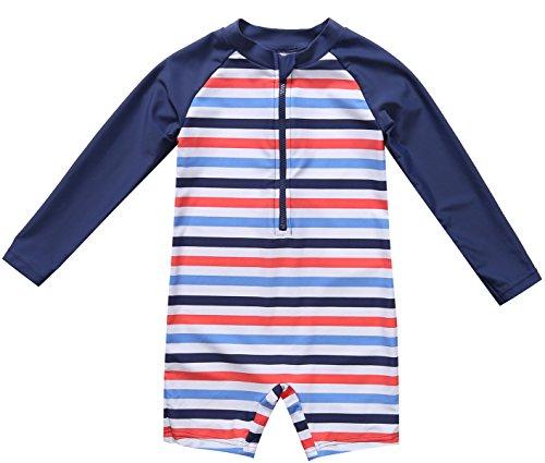 belamo Infant Boys Rash Guard Swimwear Stripe Sun Protective Shirt 6-12 Months