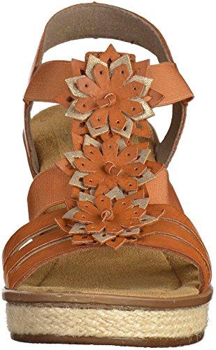 Rieker 67510, Sandalias con Cuña para Mujer marrón