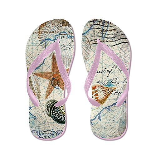 CafePress - Seashells Nautical Map Vintage Anchor - Flip Flops, Funny Thong Sandals, Beach - Seashell Map