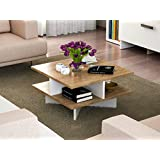LaModaHome Modern Style Coffee Table White-Brown Coffee Table Wooden Resistant Table Cocktail Table with Storage Best Choice For Quality For Home, Office, Living Room and More