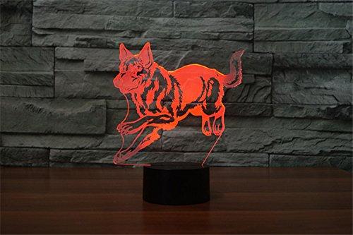 7 Farbwechsel Touch Switch Tisch Schreibtisch Dekoration Lampen perfekte Weihnachtsgeschenk mit Acryl Flat ABS Base USB Spielzeug 3D Deutsche Sch/äferhund Lampe optische Illusion Nachtlicht