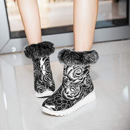 Wpew-Woherren Stiefel Wasserdichte Stiefelies Größe Runden Kopf niedrige Ferse Keil Mode Winter warme Stiefeletten