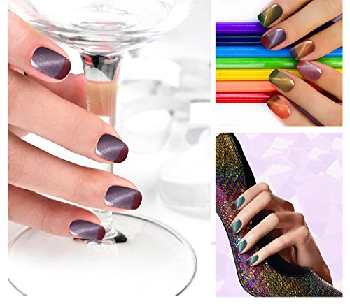Ukiyo 3D Magnetic Cat Eye Gel Polish Set 6Pcs Thermal Temperature Color Changing Nail Gel Polsih UV Gel 8ml/0.27fl.oz LED Soak Off Chameleon Gel Nail Polish Varnish Long Lasting Lacquer (#2) Photo #8