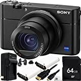 Sony Cyber-shot DSC-RX100 V Digital Camera 64GB Bundle 8PC Accessory Kit - Includes 64GB Memory Card + 2 Replacement NP-BX1 Batteries + AC/DC Rapid Home & Travel Charger + MORE