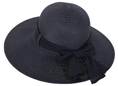 Straw Hat Women's Wide Brim Summer Beach Sun Hat w/ Bowtie Ribbon, Black