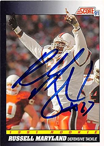 Russell Maryland autographed Football Card (Dallas Cowboys) 1991 Score Rookie #565 - NFL Autographed Football Cards 1991 Score Nfl Card