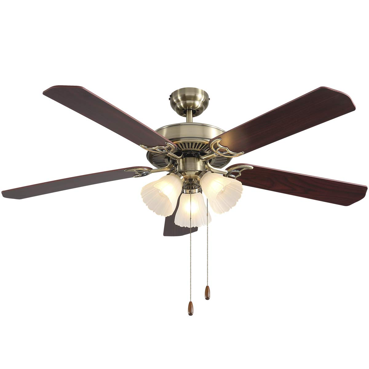 PUSU 52-inch Indoor Ceiling fan,Fan Light with Pull Chain Control,Wood Fan Blade Match Bronze Cover for Dining Room Bedroom Living Room Kitchen and Restaurant.