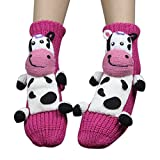Christmas Winter Indoor Floor Socks 3d Cartoon Animal Non-Skid Household Thick Knit Socks for Women (Dairy Cow)
