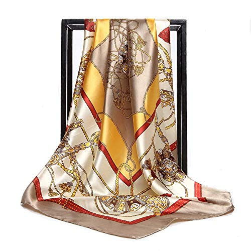 Women's Silk Scarf Belt Pattern Large Square Satin Headscarf Headdress 35