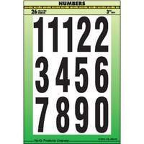 New Hy-ko Mm-4n Black & White 3'' Numbers Stick On Adhesive 26pc 0250688 by Generic