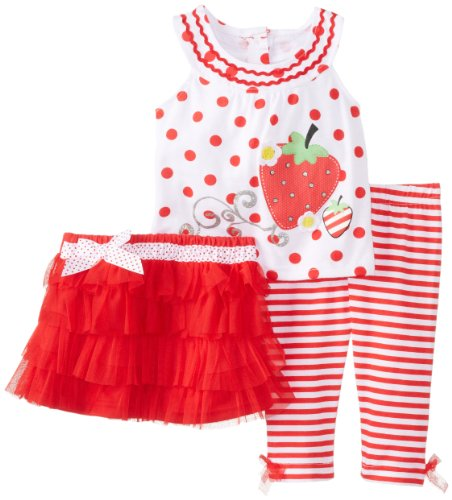 Young Hearts Baby Girls' 3 Piece Strawberry Skirt Set, Red, 18 Months