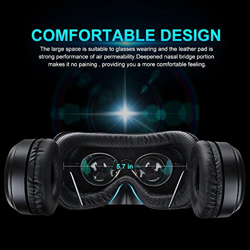 Pansonite Vr Headset with Remote Controller, 3d Glasses Virtual Reality Headset for VR Games & 3D Movies, Eye Care System for iPhone and Android Smartphones (Sb-black) by Pansonite (Image #3)