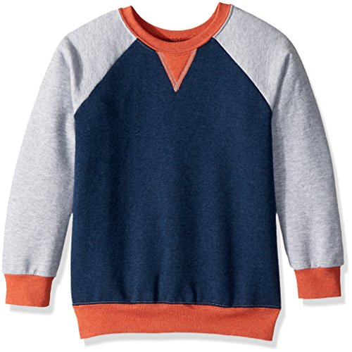 Fruit of the Loom Boys' Big' Fleece Crewneck Sweatshirt, T.Blue Athletic Mason Orange Heather, Medium