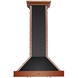 """CAVALIERE Range Hood 30"""" Inch Copper Finished Brushed Stainless Steel Wall Mount - 4 Speed Soft-Touch Electronic Control Panel With LED Lighting, Stainless Steel Baffle Filters, 900 CFM"""