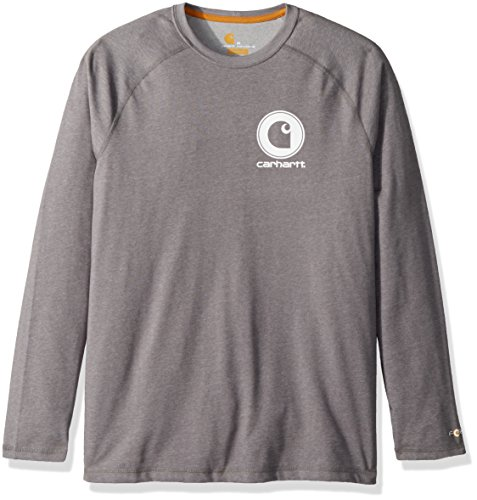Carhartt Men's Force Cotton Delmont Long Sleeve Graphic T Shirt, Granite Heather, Medium -