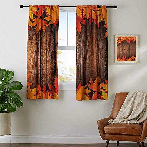 - youpinnong Fall, Curtains Elegant, Dry Leaves Poured onto Wooden Board Cabin Cottage Rustic Country Life Theme Print, Curtains for Living Room, W96 x L72 Inch Brown Orange