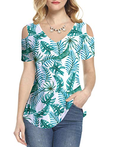 Amoretu Women Cold Shoulder Tops Leaf Shirt Short Sleeve Summer Blouse(Green,L)