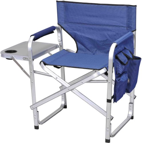 (Folding Camping Fishing Sports Directors Chair with Side Table SL1204-BLUE)