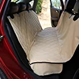 Plush Paws Ultra-Luxury Pet Seat Cover - 2 Bonus Harnesses 2 Seat Belts for Full Size Trucks, Large Suv's & Cars - XL Tan, Waterproof, Nonslip Silicone Backing