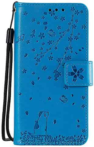 Lomogo Leather Wallet Case for Galaxy A20S with Stand Feature Card Holder Magnetic Closure, Shockproof Flip Case Cover for Samsung Galaxy A20S - LOHHA130657 Blue