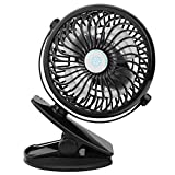VERKB Mini USB Table Fan, 2000mAh Rechargeable Battery Personal Desk with Clip Airflow Enhanced Lower Noise(Black)