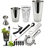 Tiger Chef 15-Piece Professional Stainless Steel Boston Shaker Home Bar Set and Cocktail Making Set - Includes Bar Tools with 16-Ounce Mixing Glass with Imprinted Recipes