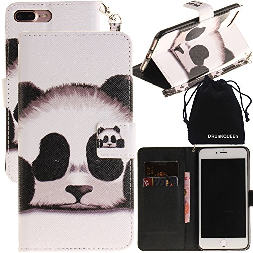 iPhone 7plus Case, DRUnKQUEEn Wallet Purse Type Leather Credit Cards Case with Cellphone Holder Flip Cover for Apple iPhone 7 Plus - Hand Strap Included