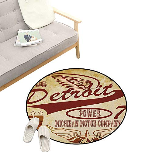 Detroit Round Area Rug ,Vintage Elements Michigan Company Free Wings Transport Auto Show Themed, Bedroom Living Room Study Room Kids Playing 31