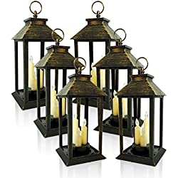 BANBERRY DESIGNS Decorative Lanterns - Set of 6 Lanterns with 3 LED Taper Candle - Brushed Faux Finish - Indoor/Outdoor Lantern - 5 Hour Timer