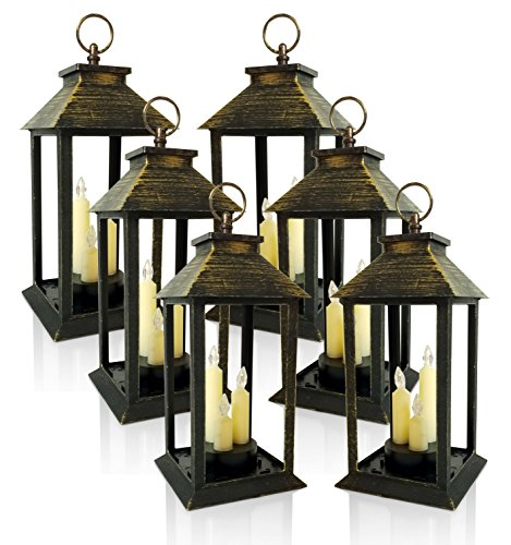 BANBERRY DESIGNS Decorative Lanterns - Set of 6 Lanterns with 3 LED Taper Candle - Brushed Faux Finish - Indoor/Outdoor Lantern - 5 Hour - Gold Lanterns