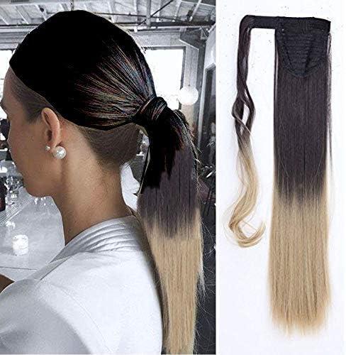 Clip de extensión de cabello de cola en cola de caballo recta 58 cm postizos largos para mujer Diadema de cola de caballo 120 g, sombras marrón oscuro Rubio ceniza