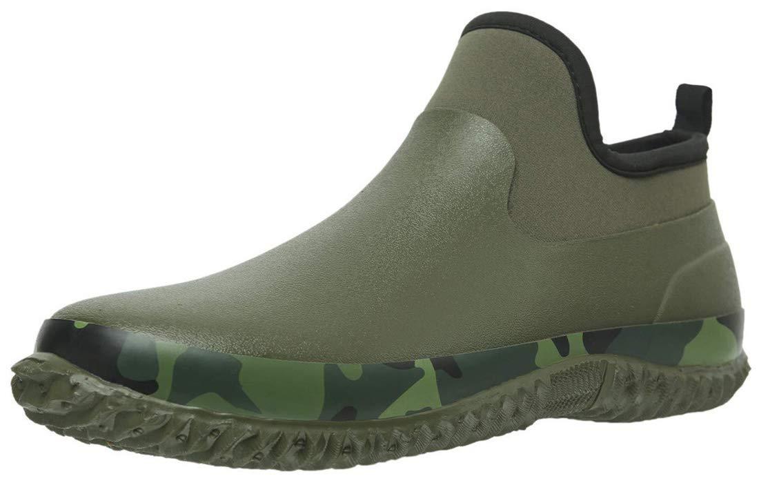 TENGTA Unisex Waterproof Garden Shoes Womens Rain Boots Mens Car Wash Footwear Army Green