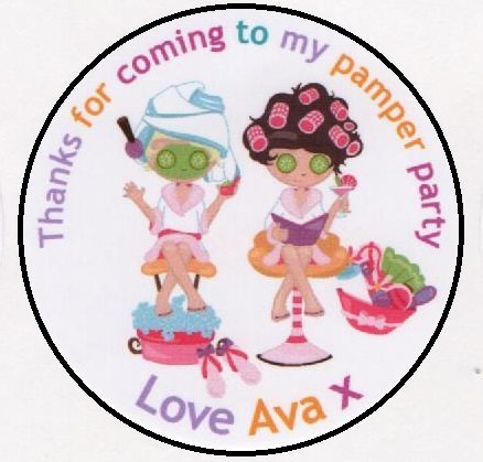 girlie pamper party spa day stickers personalised a4 sheet of 15 x