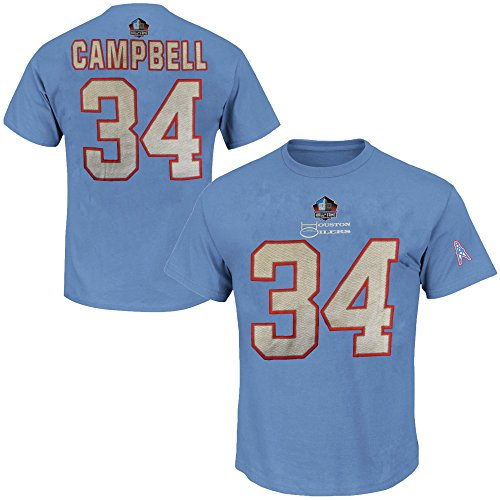 Majestic Athletic Earl Campbell #34 Houston Oilers NFL 3 Hit Mens Hall Of Fame Player Shirt Blue Big & Tall Sizes (4XT)