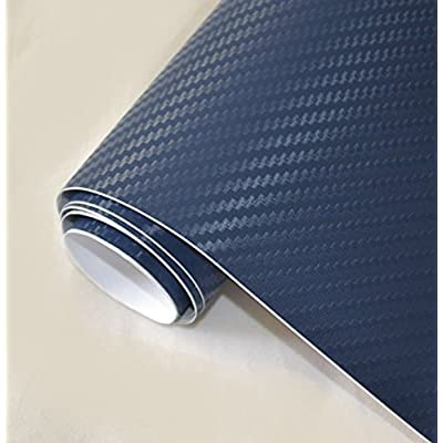 "DIYAH 3D Blue Carbon Fiber Film Twill Weave Vinyl Sheet Roll Wrap DIY Decals 12"" X 60"" (1FT X 5FT): Automotive"