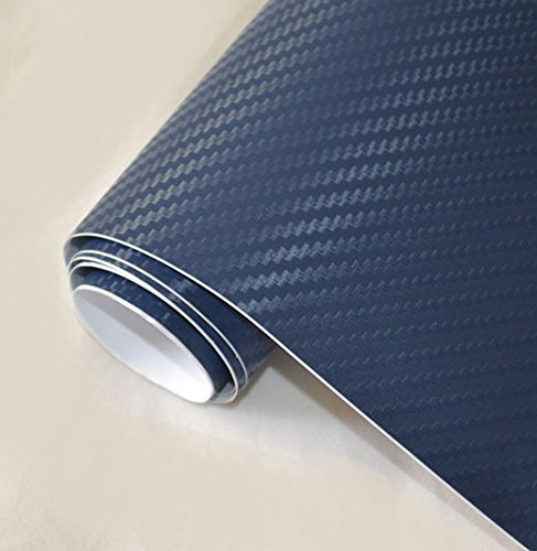 DIYAH 3D Blue Carbon Fiber Film Twill Weave Vinyl Sheet Roll Wrap DIY Decals 12