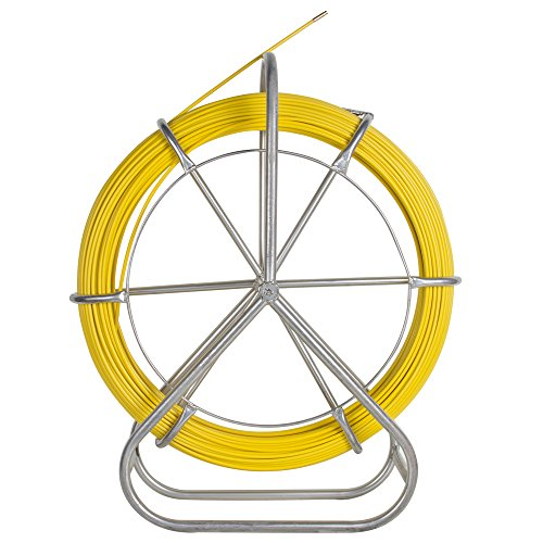 Zinnor Fiberglass Wire Cable Rod Duct Rodder Fishtape 6mm 130m Fish Tape Continuous Fiberglass Wire Cable Running with Cage and Wheel - Kit Rodder