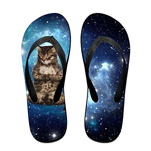 Shoes Yoga Flats Shower Flops Toed Sandals Indoor Adults Black Cat Flip Slipper Open Slide Unisex WqgP7cg