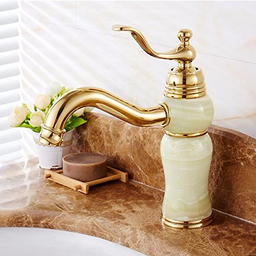 AWXJX Washbasin Hot And Cold Jade Single Hole Single Handle Bathroom Blender Copper Sink Taps by AWXJX Sink faucet