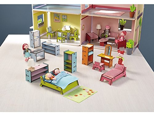 Dollhouse Chalet (HABA Little Friends Deluxe Dollhouse Furniture Set with 5 Rooms (19 Pieces) for Villa Sunshine)