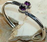 Designer .925 Sterling Silver Overlay Bangle bracelet with Genuine Amethyst Gemstone Bracelet, fashion Bracelet
