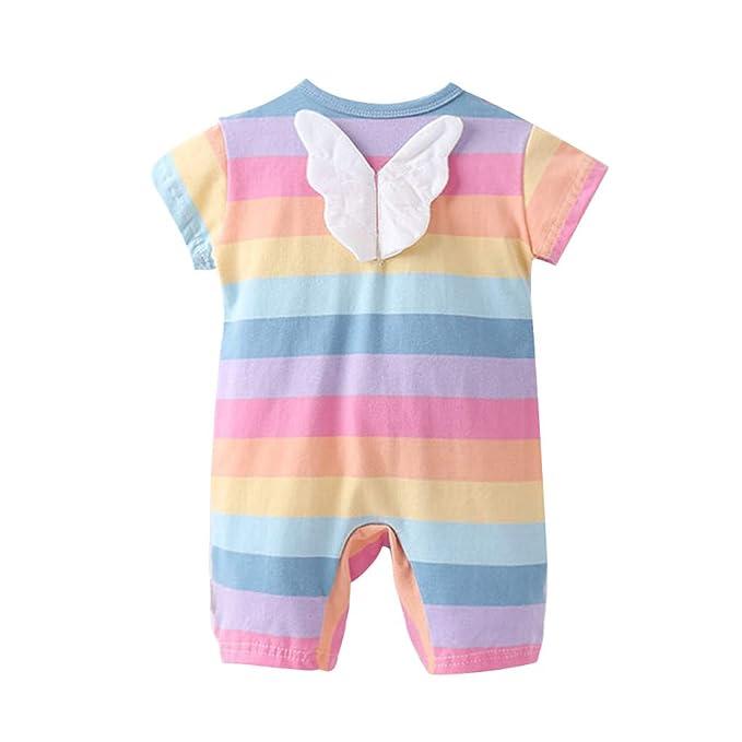 Newborn Toddler Baby Girls Bodysuit Romper Jumpsuit Rainbow Stripe Print Clothes