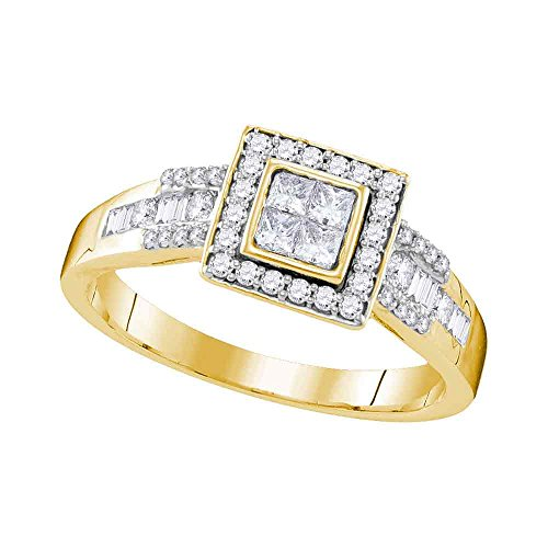 Size - 7 - Solid 10k Yellow Gold Princess Cut Round Baguette White Diamond Engagement Ring OR Fashion Band Invisible Set Square Shape Solitaire Shaped Halo Ring (1/2 cttw) ()
