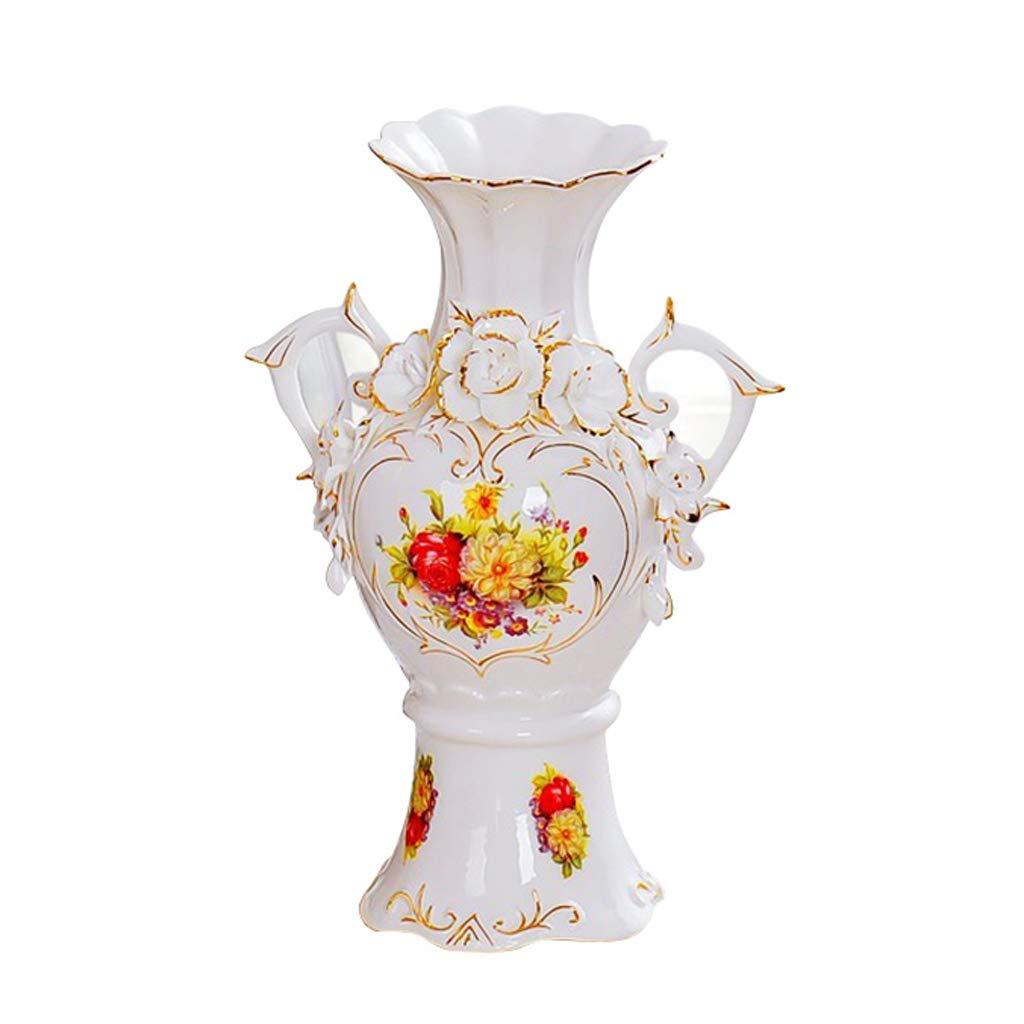 GAODUZI Vaso in Ceramica d'oro Decorazione Europeo Moderno Soggiorno TV gabinetto Fiore Decorazione Vaso Artigianato (Dimensioni   A)