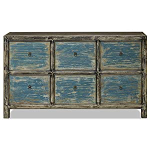 China Furniture Online Elmwood Chinese File Cabinet, 6 Drawers Ming Style Distressed Blue and Black