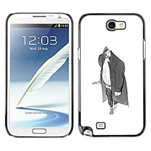 A-type Colorful Printed Hard Protective Back Case Cover Shell Skin for SAMSUNG Galaxy Note 2 II / N7100 ( Man Big Grey Pencil Art Drawing Wanderer )
